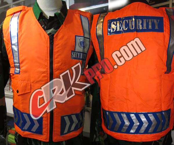rompi security satpam orange reflektor safety scotlight